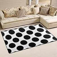 DEYYA Black And White Polka Dot Non-slip Area Rug Rugs for Living Room Decoration 31 x 20 Inch