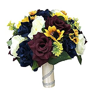 "Angel Isabella Beautiful 10"" Bridal bouquet-keepsake artificial faux flower ivory navy blue burgundy roses sunflower daisy rustic but elegant wedding.Perfect for fall weddings 105"
