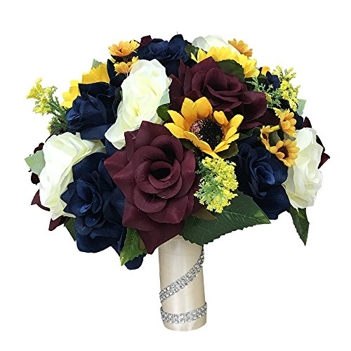 Beautiful 10'' Bridal bouquet-keepsake artificial faux flower ivory navy blue burgundy roses sunflower daisy rustic but elegant wedding.Perfect for fall weddings by Angel Isabella