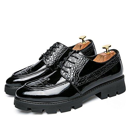 Scarpe uomo Stringate 2018 39 stampa da shoes Scarpe in con Color Oxford pelle in Nero casual Basse cuciture moda Xujw Dimensione brogue Nero EU qExf0w1q
