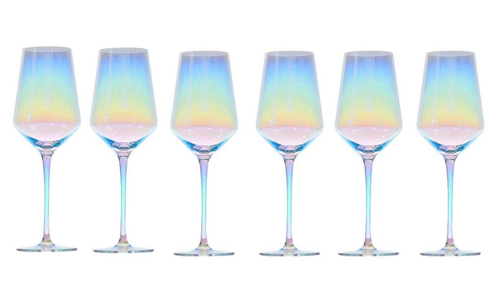 Kefbhefe Rainbow Goblet, Glass Red Wine Goblet, 100% Hand-Blown Lead-Free Crystal Glass, Gradient Color Colorful Goblet, 2,4,6,Package3:6