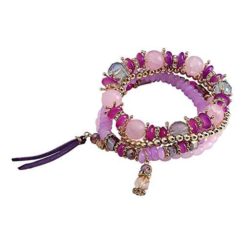 ANAZOZ 4PCS Set Purple Acrylic Beaded Tassel Bohemian Stretch Women Ball Bracelets