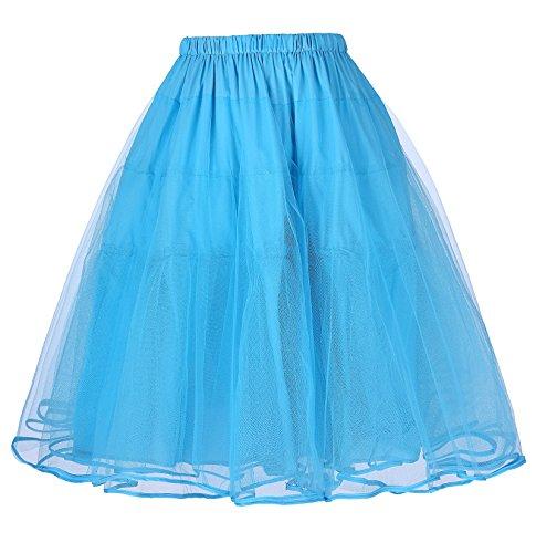 Vintage Cancán Belle Tutú bp0229 Retro Mujer para Miriñaque Sky Enaguas de Poque® 6 Vestido Falda Tul Blue 4XCAqw