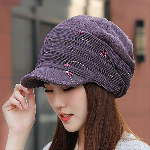 Women's Hat Autumn Winter Fashion Embroidered Duck Tongue Painter Hat Thicker Octagonal Cap and Moon Cap Uniform Code (54-65Cm) High Elasticity Leather Purple (Leather Embroidered Ducks)