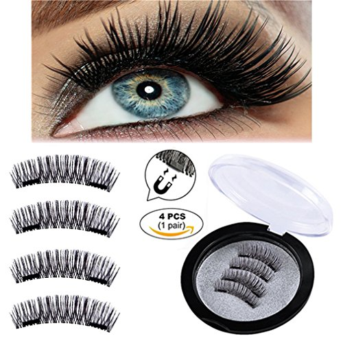 Full Size Magnetic False Eyelashes - Handmade 3D Fake Magnetic Lashes Extension - Reusable and Easy to Apply Ultra Thin No Glue Dual Magnet System - Soft & Comfortable - Natural Look (1 Pair/4 Pcs)