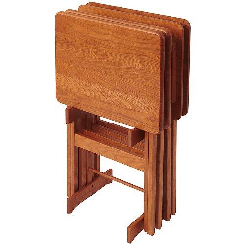 Manchester Wood Rectangular Folding TV Tray Table Set of 4 - Golden Oak