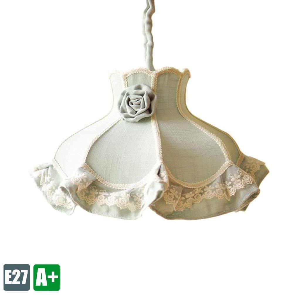 Modern Pendelampe Kreative lampenschirm Pendelleuchte Einzigartige Schlafzimmer Hängelampe Hochwertigemäßnnenbeleuchtung Korridor Zimmer Schmiedeeisen Hellgrün Rosan Stoff Dekoration leuchte 1 E27