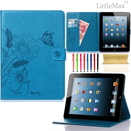 Pure Peony Series (iPad 4 Case,iPad 2 3 Case-LittleMax Smart Leather Case Embossed Butterfly&Flower Pure Color Series [Magnetic Closure] Stand Case with Card Holder for Apple iPad 2/3/4-#2Blue)