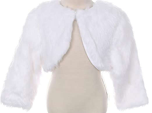 c3f68ff8f Big Girls' White Faux Fur Pearl Button Special Occasion Shrug White Size 3