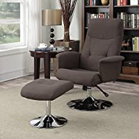 Handy Living Dahna Chocolate Brown Linen Chair and Ottoman