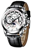 BINGER Men's Mechanical Watch Complications Outdoor Sport Leather Band (White)