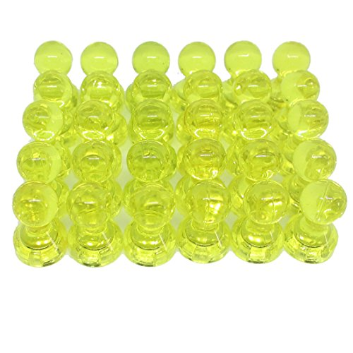 Anfukon 30 Pcs Yellow Magnetic Push Pins Perfect as Whiteboard Refrigerator Maps Calendar Magnets Using in Office Kitchen