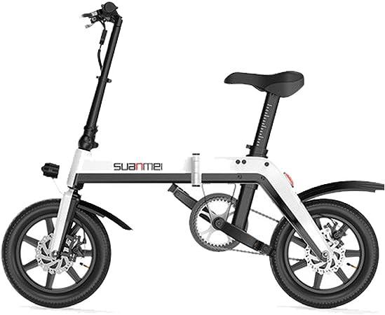 Bicicleta Eléctrica Plegable para Adultos De 14 Pulgadas, Batería De Litio De 36 V para Hombres Y Mujeres Mini Bicicleta Eléctrica Plegable De Carga,White: Amazon.es: Deportes y aire libre