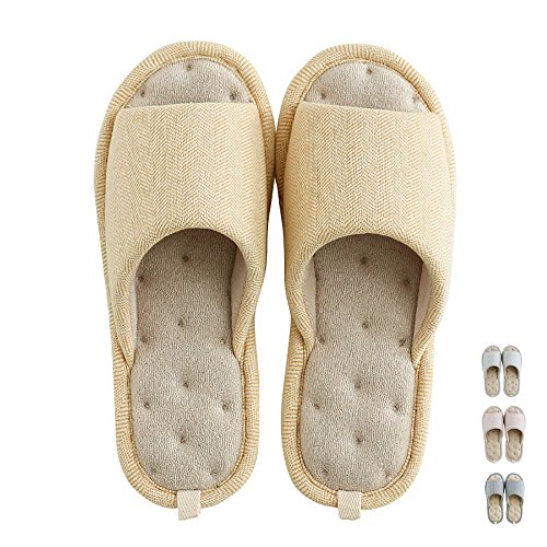 (Women Men's Home Slippers Memory Foam Washable Cotton Linen Open Toe Indoor House Flax Soft Non-Slip Sole Shoes (5-6.5B US/240mm 37/38, Yellow#4))