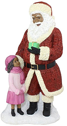 African American Santa Claus Standing with Girl