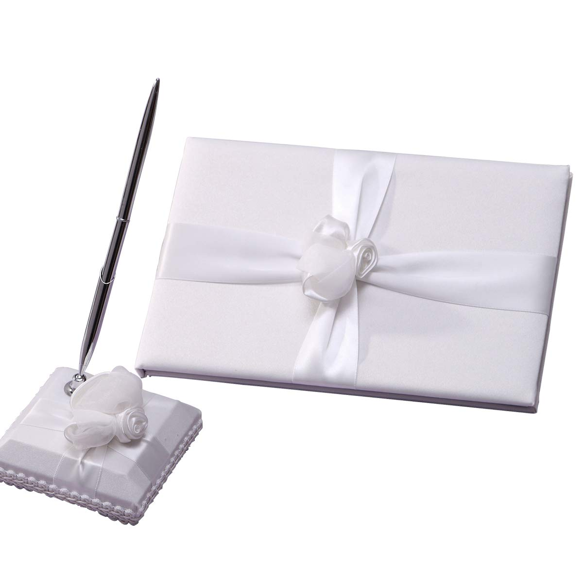 KateMelon Tied with Rose Guest Book and Pen Set in Ivory