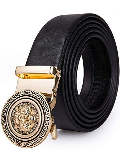 "Hi-Tie Genuine Leather Men Black Ratchet Dress Designer Belt with Silde Metal Automatic Buckle (Golden Tiger, Adjustable from 42"" to 45"" Waist Size)"
