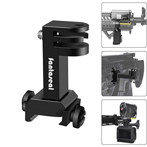 Hi-Precision Aluminum Alloy 2in1 Action Camera Gun Side Rail Mount Holder Motion Camcorder Picatinny Adapter Kit Compatible GoPro Sony for Shotgun Rifle Pistol Hunting Shooting Airsoft Paintball - Paintball Part