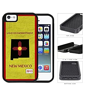 New Mexico State Tag Grunge Scrapes 2-Piece Dual Layer High Impact Rubber Silicone Cell Phone Case Apple iPhone 5 5s