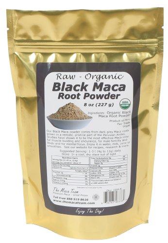 Сырье органический черный Мака порошок, справедливая торговля, ГМО, свежий 2014 урожай, Vegan 8 унций - 25 порций