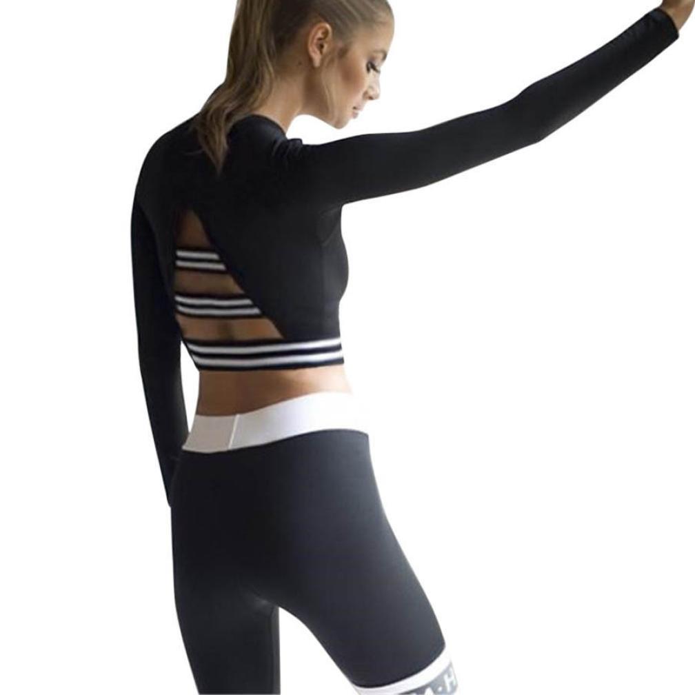 Fitness Yoga T-Shirt,Twinsmall Women's Active Athletic Sports T-shirt Long Yoga Crop Tank Top