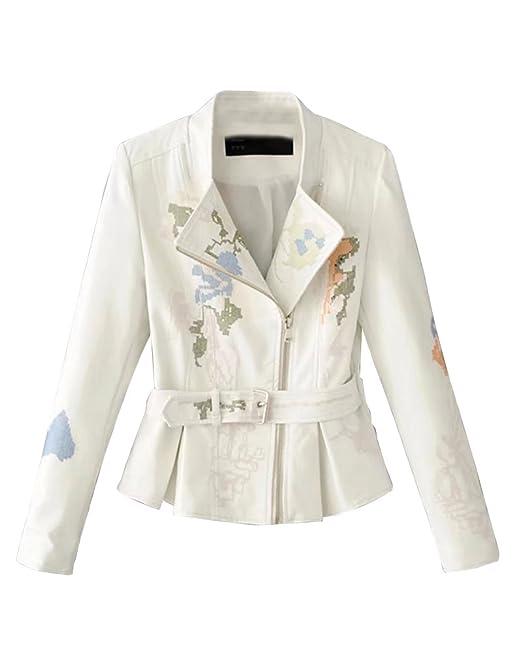 261439a991a506 Pelle Sintetica Ricamo Fiori Cappotto Pu Giacca Elegante Donna Corto Per  Moto Jacket Primavera E Autunno