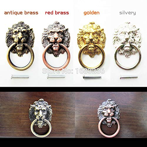 Lion Head Small Knob Brass (Mercury_Group, 6Pcs Antique Brass Golden Vintage Bronze Metal Lion Head Furniture Door Cabinet Dresser Drawer Pull Handle Knob Ring - (Color:Silvery))