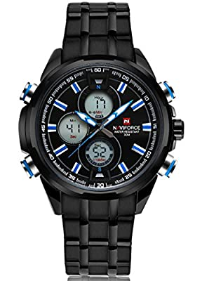 Voeons Men's Watches Black Stainless Steel Analog Quartz Digital Sports Military Watch