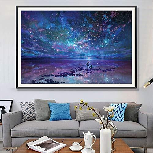 Dream Star Diamond Painting Full Of Diamond Living Room Landscape Bedroom Diamond Embroidery Brick And Stone Painting Point Diamond Cross Embroidery Rub Diamond Square Diamond Full Of Drill 90x60 (cm)
