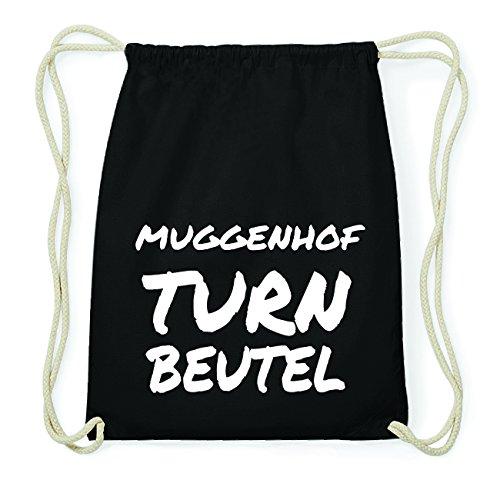JOllify MUGGENHOF Hipster Turnbeutel Tasche Rucksack aus Baumwolle - Farbe: schwarz Design: Turnbeutel