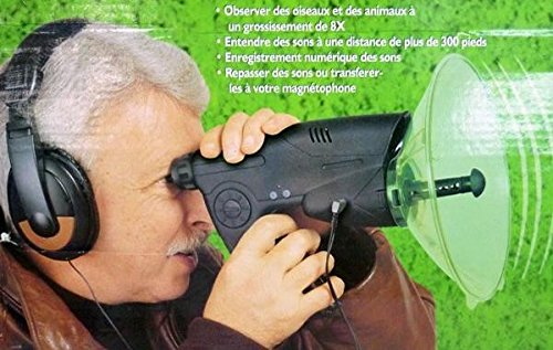 Professional Parabolic Bird and Animal Electronic Listening & Digital Recording Device (Color - Black)