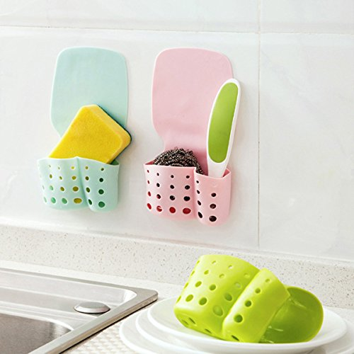 Kitchen Tools & Gadgets - Honana Cf-Sb616 Self-Adhesive Kitchen Hanging Drain Bag Basket Bath Storage Gadget Tool Sink Holder - Self-Adhesive Hanging Drain Basket - 1PCs