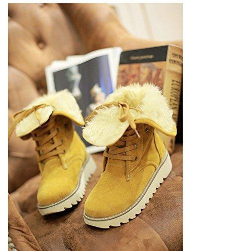 Zapatos De Nieve Botas Minetom Piel Botas Mujer Botines De Casual Amarillo Calentar Invierno Plano BwxxqTSU