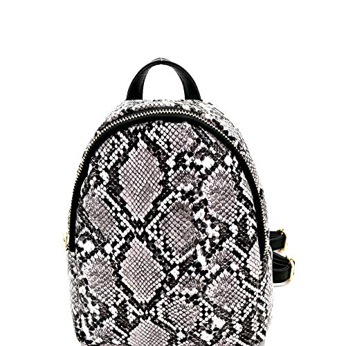 (Snake Print PU Leather 2-Way Medium Backpack Shoulder Bag)