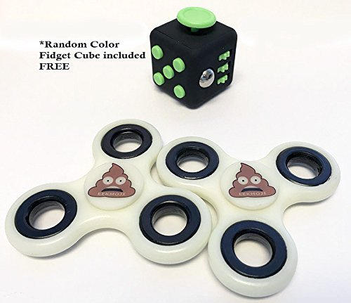 Scared Poop Emoji Fidget Spinner and Cube - Glow in the Dark Set!