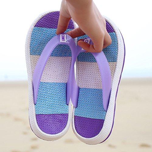 Fuxitoggo Bath Femmes Violet Flops EU Taille coloré Flip Clip 38 Beach été pour Flat Stripe Noir Toe Slipper rfRrHxqn