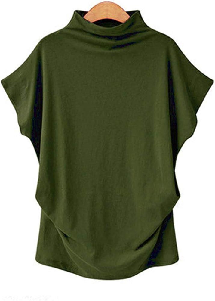 Camiseta de Algodón de Manga Corta con Cuello Alto y Cuello Alto de Color Liso de Verano para Mujer: Amazon.es: Ropa y accesorios