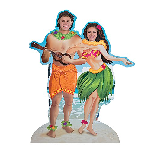 Fun Express - Hawaiian Couple Photo StanD-up - Party Decor - Large Decor - Floor Stand Ups - 1 Piece -