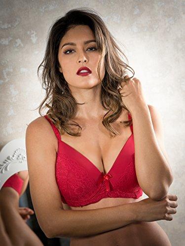 Spitzen Schalen-BH von BESIRED für Frauen mit großen Cup Größen / BH mit Bügeln und vorgeformten weichen Soft Cups mit verführerischer Spitze und attraktivem Schnitt / Farbe Rot, Größe 80G
