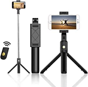 AUSELECT Selfie Stick Tripod, Extendable Bluetooth Selfie Stick with Wireless Remote, Compatible with iPhone 11/11 pro/X/8/8P/7/7P/6s/6, Sumsung Galaxy S9/S8/S7/Note 9/8, Huawei and More (Black)