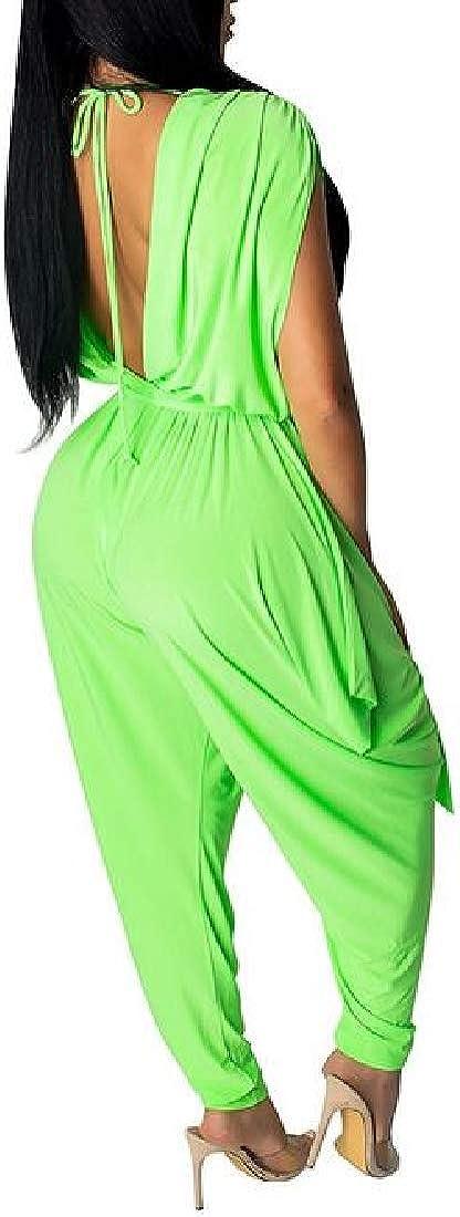 Fubotevic Women Sleeveless Loose Deep V-Neck Harem Solid Jumpsuit Romper