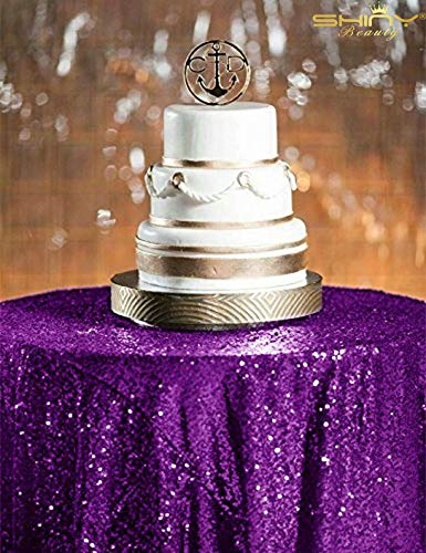 ShinyBeauty Sequin Tablecloth-48Inch Round Sparkle Tablcleoth,Glitter Table Cloth,Sequin Wedding Tablecloth (48Inch, Purple) -