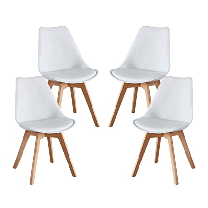 Super Alovhad Mid Century Dining Chairs Pp Set Of 4 With Solid Wooden Legs Dsw White Chairs Soft Padded Seat Dining Room Chairs Store Have Same Style Dining Andrewgaddart Wooden Chair Designs For Living Room Andrewgaddartcom