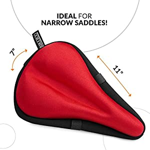 Bikeroo Most Comfortable Bike Seat Cushion Cover - Premium Quality Exercise Bicycle Saddle Pad With Soft Gel for Women and Men Valentines Day Gifts Great for Indoor Cycling Class and Stationary Bike