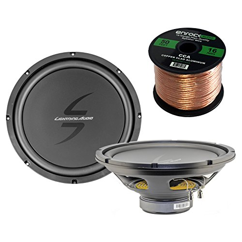 Pair of (2) Lightning Audio By Rockford Fosgate L0-S412 LA-Zero 12-Inch 4-Ohm Car Audio Single Voice Coil Subwoofer Bundle Combo With Enrock 50 Foot 16 Gauge Speaker Wire