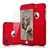 iPhone 7 Plus Case, 360 Degree All-Around Full Body Utral Thin Fit Case Cover with Tempered Glass Screen Protector Ultra Slim Light Weight Hard Snap-on for Apple iPhone 7 Plus - Red