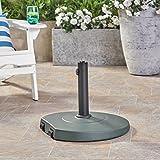 Great Deal Furniture Caiden Outdoor 59.5lb Concrete Circular Umbrella Base with Aluminum Collar, Dark Green