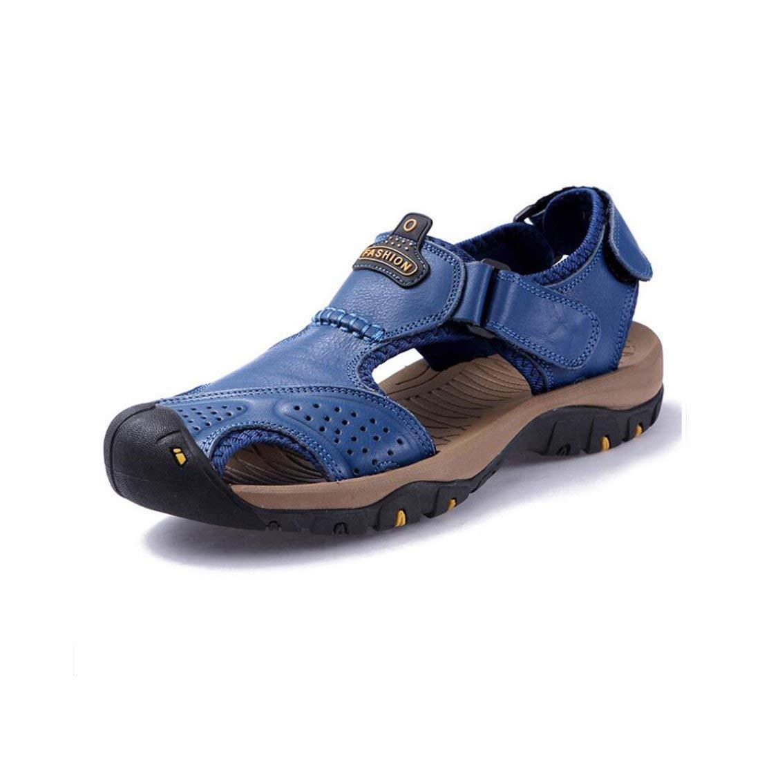 Männer Sandalen Sport Baotou Outdoor Sandalen Männer Geschlossene Zehe Sommer Sport Casual Fischer Leder Strand Schuhe Wandern Outdoor Anti Collision (Farbe   2, Größe   40) ( Farbe   1 , Größe   38 )    Abgabepreis
