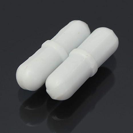 XILOSIN 2PCS de WhiteMagnetic Bar Agitation B25 PTFE Agitateur M/élangeur Agitation Bar Rod Perle avec Pivot Anneau