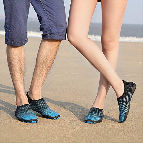 Hinzer Men Womens Barefoot Quick-dry Sport Acquatici Aqua Shoes Con 14 Fori Di Drenaggio Per Nuotare, Camminare, Yoga, Lago, Spiaggia, Giardino, Parco, Guida Blu